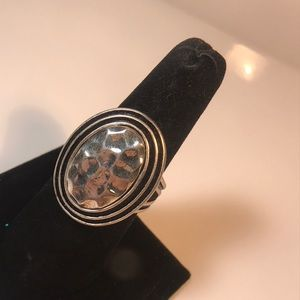 Premier Designs oval hammered look ring size 10